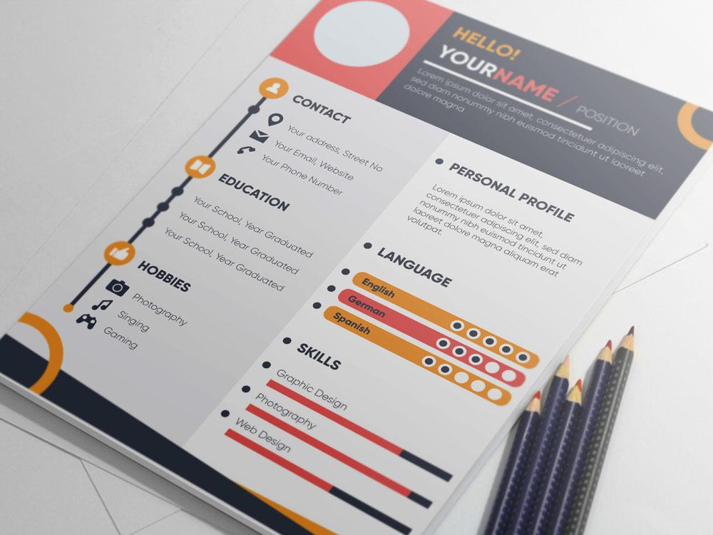 Free Colorful Infographic Resume CV Template for Job Seeker in Illustr - CreativeBooster
